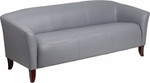 Flash Furniture Imperial Gray Leather Sofa with Cherry Legs