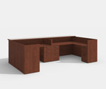 amber 2 person reception desk in cherry
