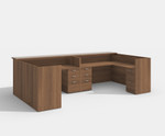 amber 2 person reception desk in walnut