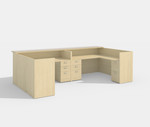 amber 2 person reception desk in maple