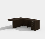 amber peninsula style l-shaped desk with black cherry finish