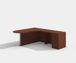 amber peninsula style l-shaped desk with cherry finish