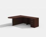 amber peninsula style l-shaped desk with mahogany finish