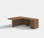 amber peninsula style l-shaped desk with walnut finish