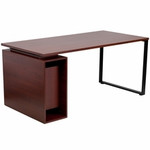 Flash Furniture Mahogany Computer Desk with Open Storage Pedestal