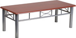 Flash Furniture Mahogany Laminate Coffee Table with Silver Steel Frame