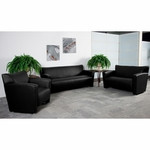 Flash Furniture Majesty Black Leather Reception Sofa