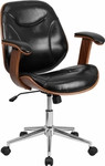 Flash Furniture Mid Back Black Leather and Wood Executive Chair