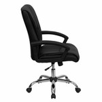 Flash Furniture Mid Back Black Leather Managers Chair
