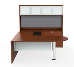 cherryman jade u desk with glass hutch doors