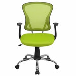 Flash Furniture Mid Back Green Mesh Back Office Chair with Polished Base