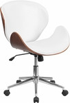 Flash Furniture Mid Back Natural Wood Swivel Conference Chair in White Leather