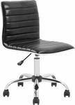 Flash Furniture Mid-Back Armless Black Ribbed Designer Task Chair