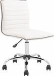 Flash Furniture Mid-Back Armless White Ribbed Designer Task Chair