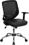 Flash Furniture Mid-Back Black Office Chair with Mesh Back and Italian Leather Seat