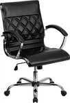 Flash Furniture Mid-Back Designer Black Leather Executive Office Chair with Chrome Base