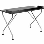Flash Furniture Modern Black Computer Desk with Silver Frame