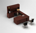 Global Zira Bow Front U-Desk with Hutch