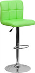 Flash Furniture Modern Chrome Bar Stool with Quilted Green Vinyl Seat and Back
