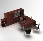 Global Zira Contemporary U Desk with File and Storage Cabinets