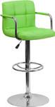 Flash Furniture Modern Green Vinyl Bar Stool with Arms