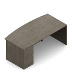 Global Zira Executive Bow Front Desk with Pedestal Z3672FB3L