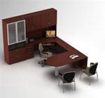 Global Zira Modern U-Desk with Hutch and Storage