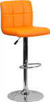 Flash Furniture Modern Orange Vinyl Bar Stool with Chrome Accents