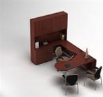Global Zira Series Modern U-Shaped Desk with Hutch