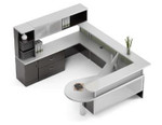 Global Zira Series U Shaped Desk for Office Reception Area
