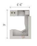 Global Zira Series U Shaped Modern Desk for Receptionist