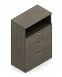 Global Zira Three Drawer Lateral File Cabinet with Open Storage Shelf