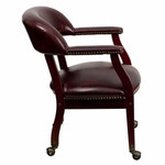 Flash Furniture Oxblood Vinyl Conference Chair with Casters