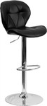 Contemporary Tufted Black Vinyl Bar Stool by Flash Furniture