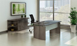 Gray Steel Laminate 4 Piece Medina Series Desk Layout by Mayline