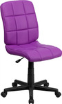 Flash Furniture Purple Vinyl Computer Chair with Quilted Back Design