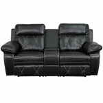 Flash Furniture Real Comfort Series Black Leather 2 Person Home Theater Recliner with Cup Holders