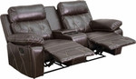 Flash Furniture Real Comfort Series Brown Leather 2 Person Home Theater Recliner with Cup Holders