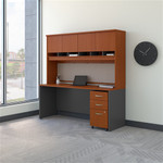 Bush Series C 72W x 24D Desk with Hutch and 3 Drawer Mobile Pedestal SRC081