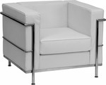 Flash Furniture Regal Series White Leather Contemporary Lounge Chair