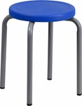 Flash Furniture Stack Stool with Blue Seat and Silver Frame