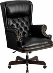 Flash Furniture Traditional High Back Office Chair with Tufted Black Leather Upholstery