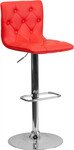 Flash Furniture Tufted Red Vinyl Adjustable Bar Stool with Chrome Base
