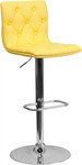 Flash Furniture Tufted Yellow Vinyl Adjustable Bar Stool with Chrome Base