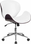 Flash Furniture White Leather Conference Chair with Mahogany Trim