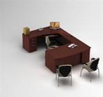 GL-Zira 4-Global Zira Bow Front U Desk with Storage