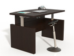 "Mayline Aberdeen 72"" Height Adjustable Bow Front Desk ABDH7242 (4 Finish Options!)"
