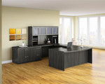 Mayline Aberdeen Gray Steel Finished U Shaped Executive Furniture Set