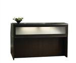 Mayline Aberdeen Small Mocha Reception Desk with Glass Accented Front