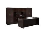 Mayline AT8LDC Aberdeen Series 8 Piece Executive Office Desk Set with Mocha Finish